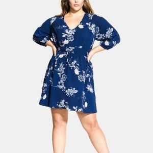 City Chic Plus Size Floral Drawstring Tunic Dress